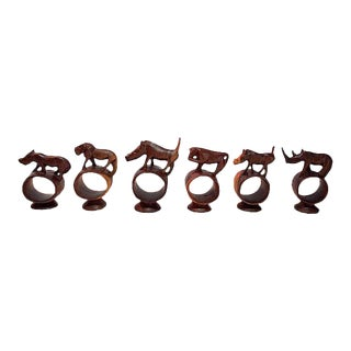 African Carved Wood Animal Napkin Rings - Set of 6