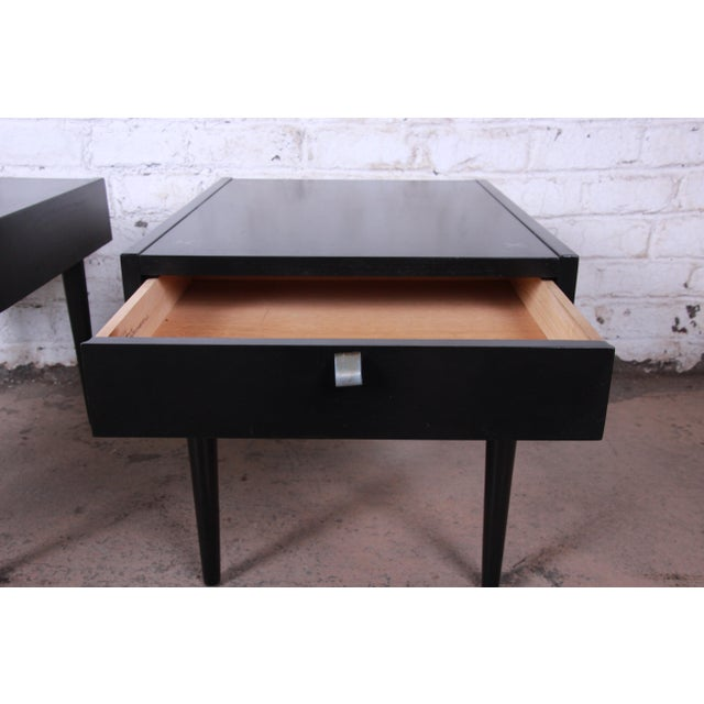Aluminum Merton Gershun for American of Martinsville Ebonized End Tables or Nightstands, Pair For Sale - Image 7 of 13
