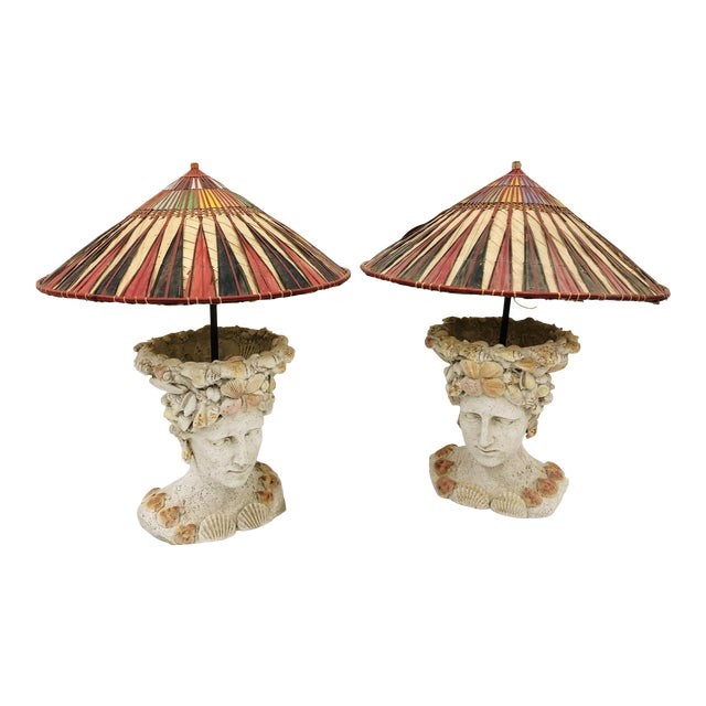 Pair Vintage Seashell Covered Bust Sculptural Lamps For Sale