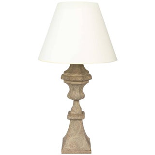 Folk Art Paint Decorated Baluster Lamp For Sale