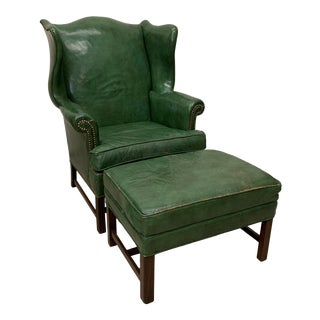 Green Leather Wingback Chair & Ottoman For Sale