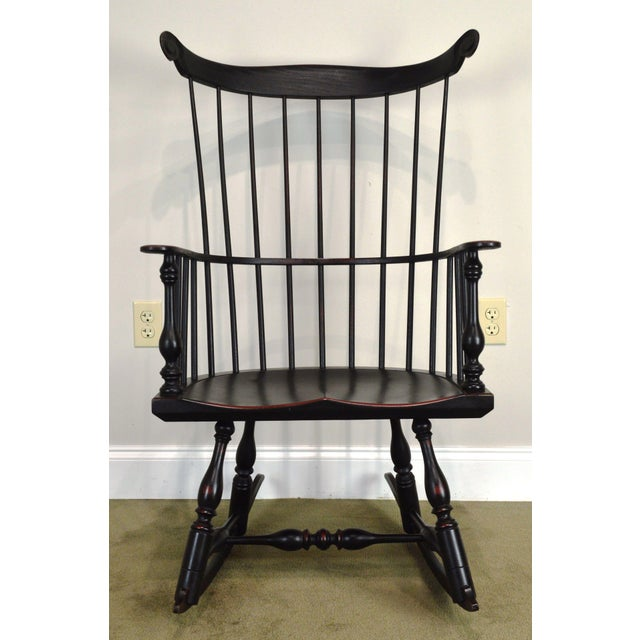 Custom Crafted Distressed Black Painted Windsor Rocker Rocking Chair For Sale - Image 10 of 13