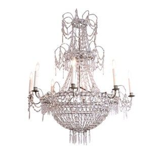 Eight-Arm Crystal Chandelier For Sale
