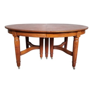 1940's French Country Ornate Carved Beaded Trim Oval Dining Table For Sale