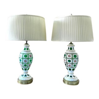 1940's Bohemian Glass Lamps With Green Concave Circles and Criss Cross Pattern, a Pair For Sale