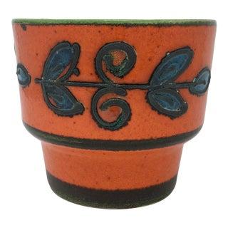 Mid-Century Vulcanic Glaze Red Ceramic Planter For Sale