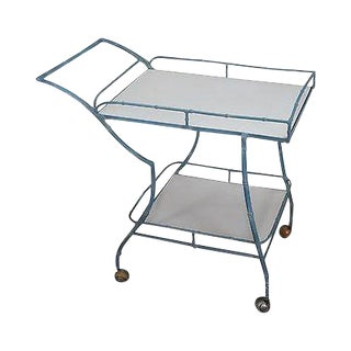 Mid Century Modern Faux Bamboo Painted Cast Aluminum Serving Cart For Sale