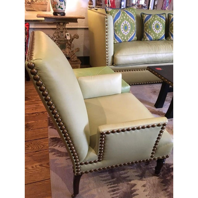 Vintage Lime Green Leather George Smith Club Chairs- A Pair For Sale - Image 10 of 11