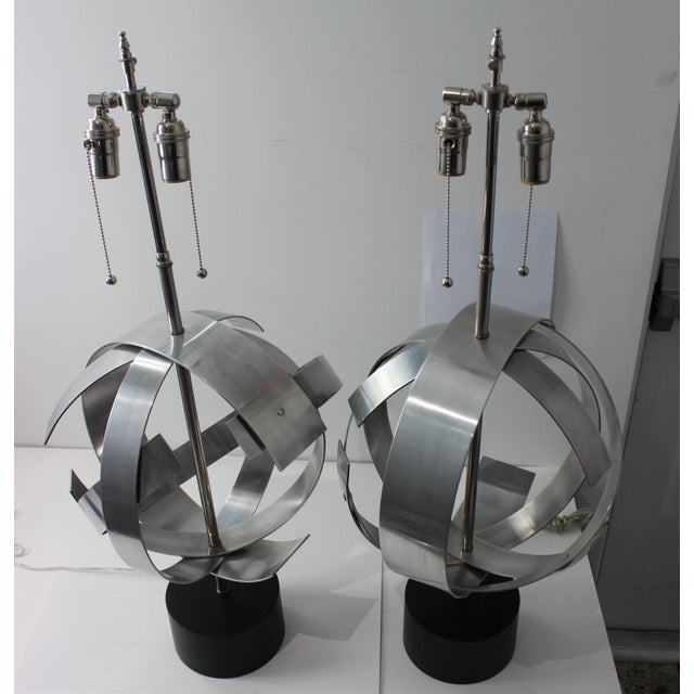 Vintage Modern Armillary Style Stainless Steel Table Lamps - the Pair For Sale In West Palm - Image 6 of 13