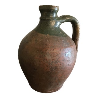 Antique French Stoneware Terra Cotta Pottery Jug Green Glazed Water or Wine For Sale