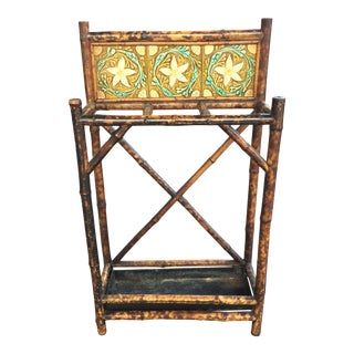 English 19th Century Bamboo Umbrella Stand W/ Tiles For Sale