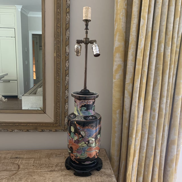 Early Black Handpainted Chinese Porcelain Vase Converted To Lamp Chairish