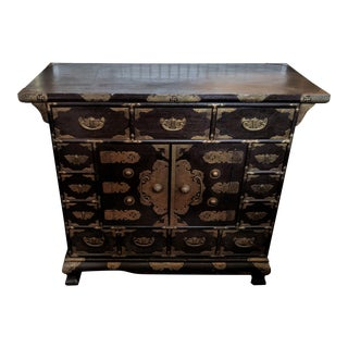 19th Century Asia Brass Chinese Buddhist Motif Cabinet For Sale