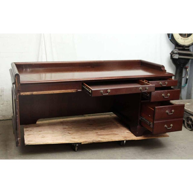 Wood 20th Century Traditional Wooden Counter Executive Desk For Sale - Image 7 of 11