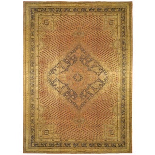 Vintage Turkish Oushak Rug, With Medallion & Covered Field For Sale