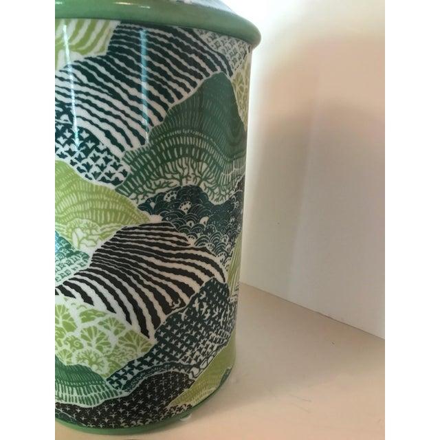 2010s Madcap Cottage Green/Blue Porcelain Lidded Jar For Sale - Image 5 of 7