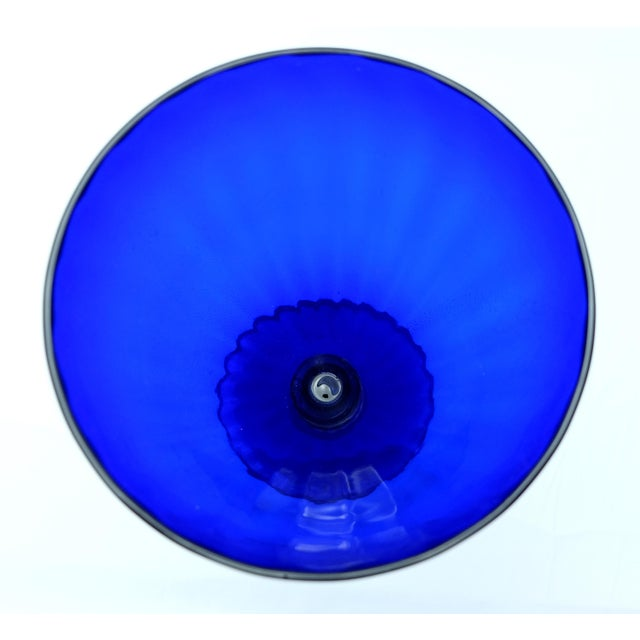 Murano Large Gold-Infused Blue Murano Glass Vase by Gabbiani Venezia, Italy For Sale - Image 4 of 7