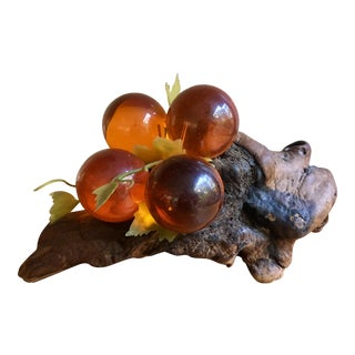 Amber Lucite Grape Cluster on Burl