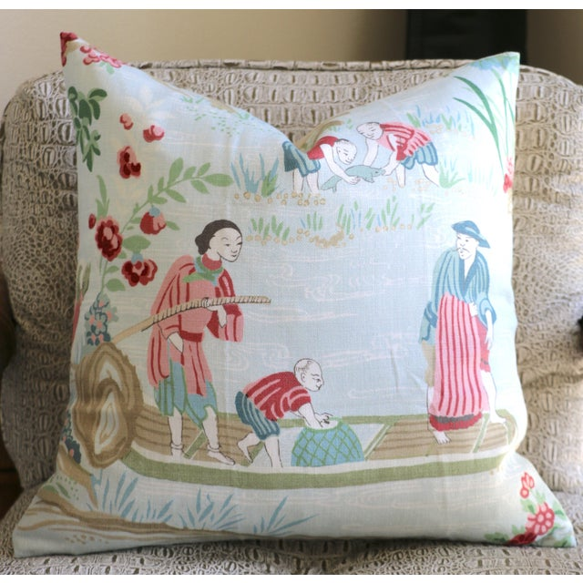 Not Yet Made - Made To Order Schumacher Yangtze River Pillow Cover in Aqua For Sale - Image 5 of 5