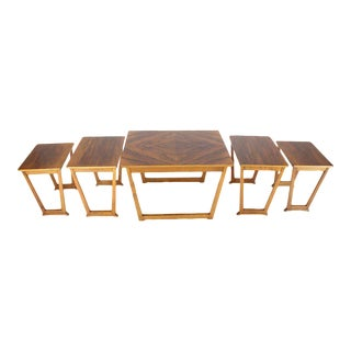 Set of Five Burl Walnut Swedish Nesting Tables For Sale