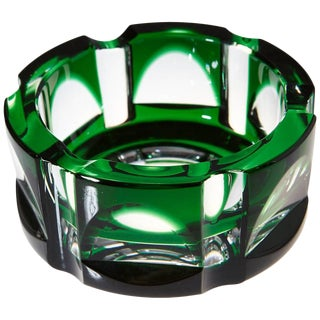 Heavy Hexagonal Emerald Green Crystal Ashtray For Sale
