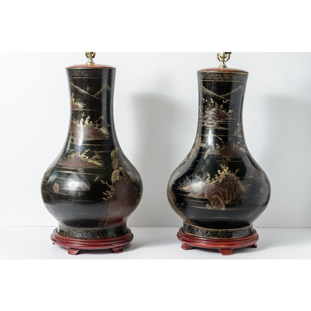 Pair of Antique Huge Chinoiserie Lacquer Urn Lamps C.1870-1890 For Sale - Image 9 of 12