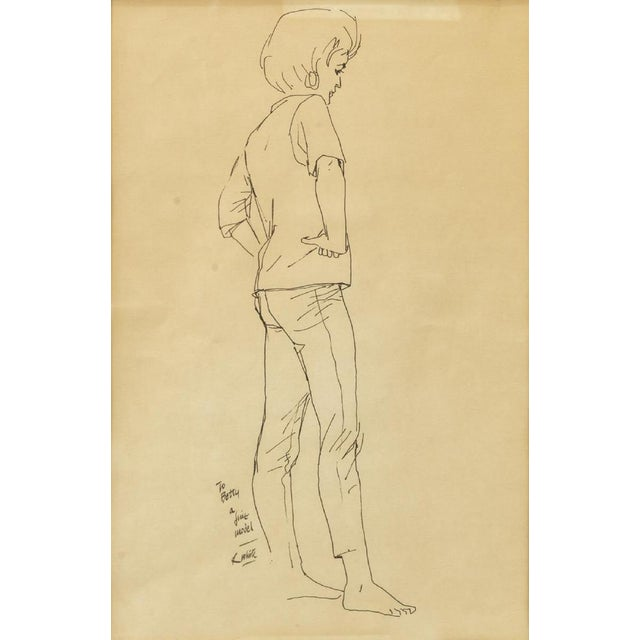 1970s Framed Female Ink Drawing Studies by Ralph E. White - Set of 3 For Sale - Image 4 of 13