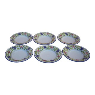 Late 20th Century Deruta Grape Motif Soup or Salad Bowls - Set of 6 For Sale