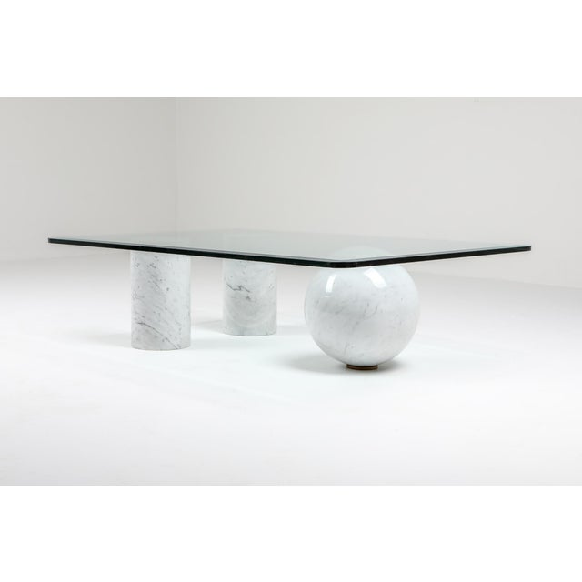 Italian Italian White Marble Coffee Table by Massimo Vignelli For Sale - Image 3 of 8