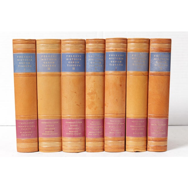 Scandinavian Leather-Bound Books S/7 For Sale - Image 4 of 4