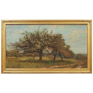 Impressionist Landscape with a Flowering Tree For Sale