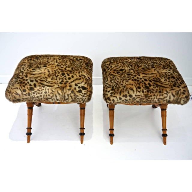 1950s Pair of Vintage Biedermeier Style X-Stools With Faux Fur Upholstery For Sale - Image 5 of 11