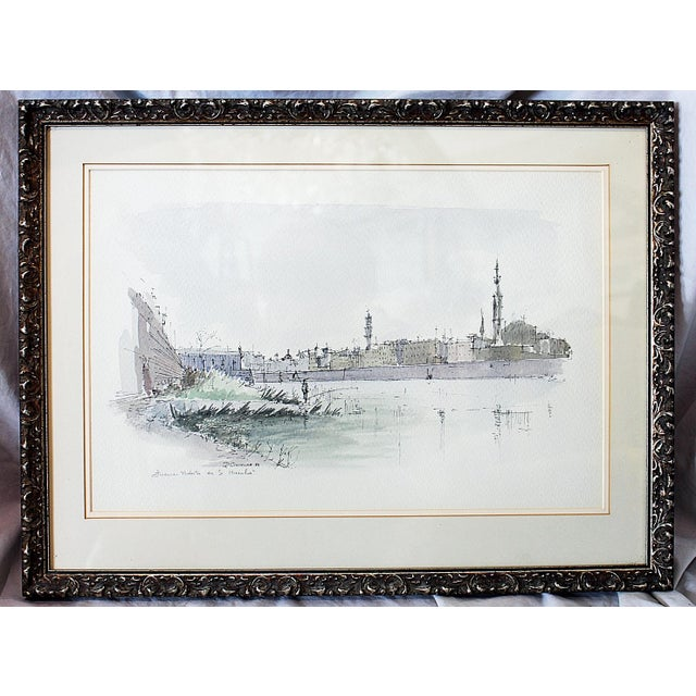 Framed Pen & Ink Watercolors - a Pair - Image 6 of 8