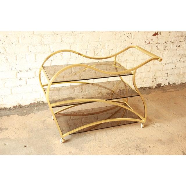 Milo Baughman for DIA Brass and Glass Bar Cart - Image 4 of 11