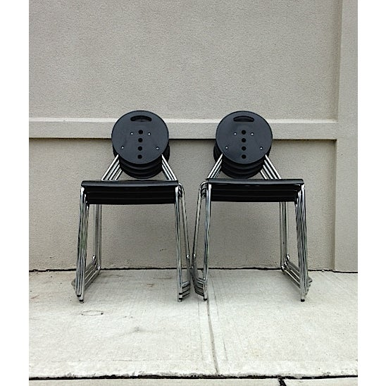 A black Bimbi Gioacchini Charlie stacking chair in a great Italian design. This is super comfortable and stack...