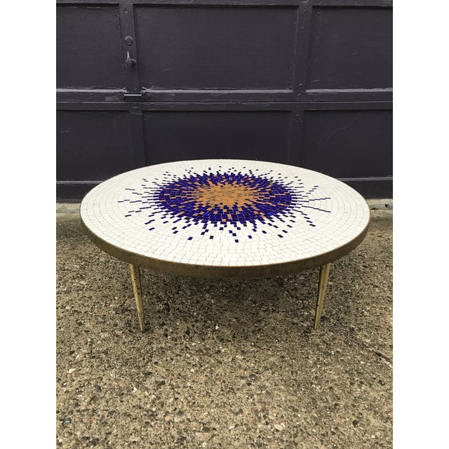 Amazing Mosaic Tile Sunburst Brass Coffee Table Luberto For Sale - Image 12 of 13