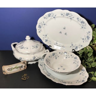 Johann Haviland Blue Garland Serving Pieces Platinum Rim Vintage Dishes - Set of 5 Preview