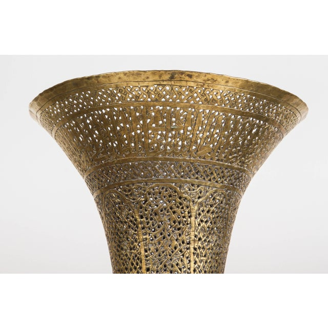 Mid 19th Century Antique Islamic Brass Candleholder Floor Lamp For Sale - Image 9 of 10