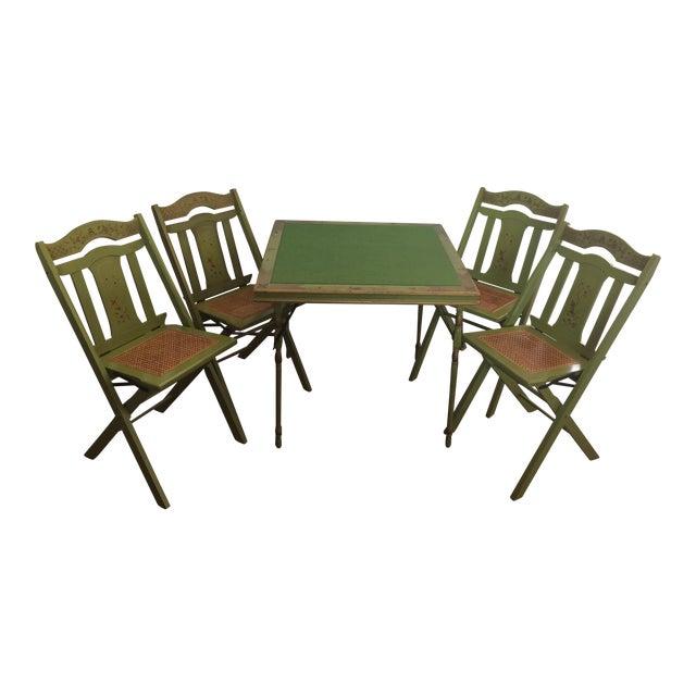 Vintage Ferguson Felt Card Table & Chairs For Sale