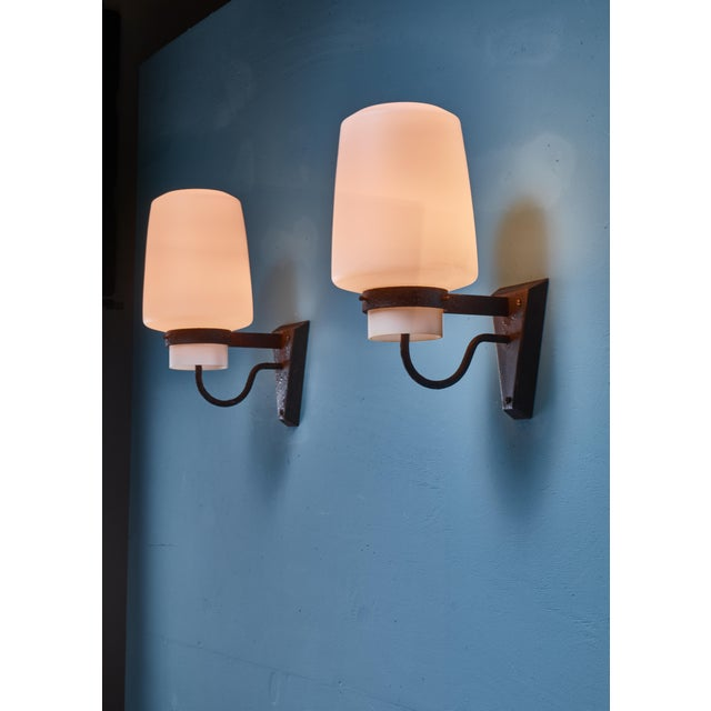 Georges Candilis Pair of Metal and Glass Sconces, France, 1960s For Sale - Image 4 of 4