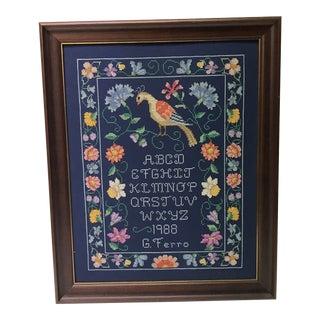 Vintage Framed Blue Linen and Silk Threads Hand Stitched Sampler For Sale