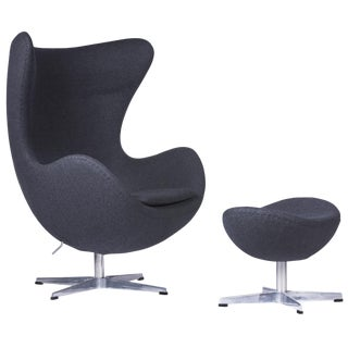 Arne Jacobsen for Fritz Hansen Black Egg Lounge Chair and Ottoman