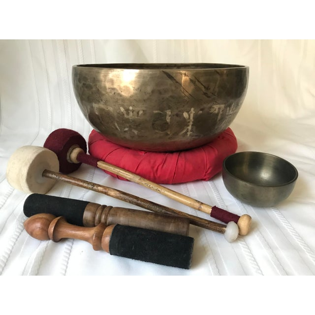 1970s 1970s Brass Tibetan Standing Bell Singing Bowl Set & Accessories - Set of 7 For Sale - Image 5 of 5
