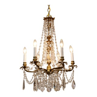 6-Light Rococo Style Brass and Crystal Chandelier, Circa:1930, Sweden For Sale