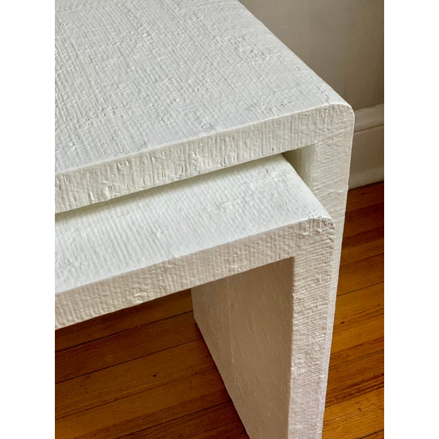 White Grasscloth Raffia Nesting Tables - 2 Pieces For Sale - Image 8 of 12