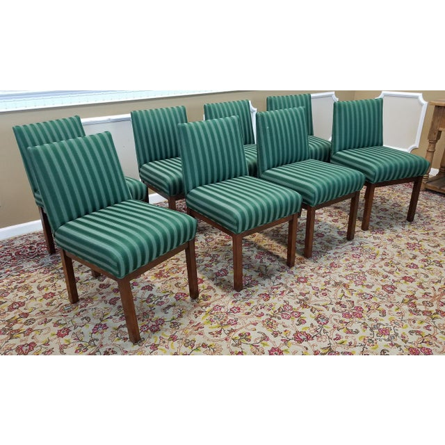 1970s Directional Contract Furniture Green Striped Upholstered Dining Room Chairs - Set of 8 - Image 3 of 11