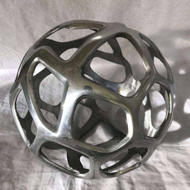 Decorative silver metal spherical objet chairish for Objet metal deco