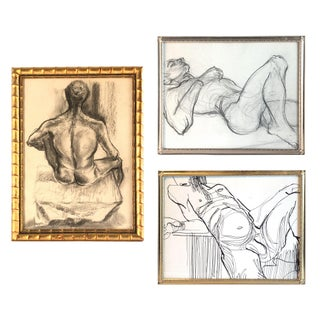 1960s Gallery Wall Collection Nude Male Figure Study Drawings - Set of 3 For Sale