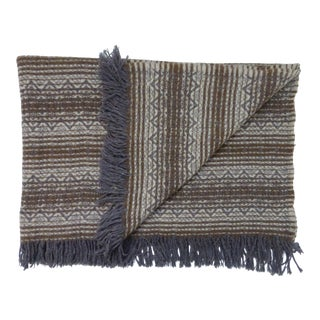 Vintage Amana Brown Grey Off White Wool Throw Blanket With Fringe For Sale