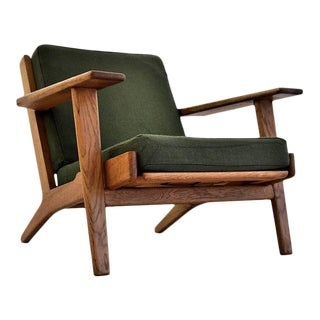 Mid Century Modern Ge290 Low Back Green Lounge Chair by Hans Wegner For Sale